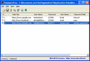Capture d'ecran du logiciel PasswordFox 1.58 fr