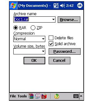 Capture d'ecran du logiciel PocketRar 3.91