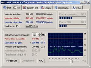 Capture d'écran du logiciel Power Memory 3.0 fr