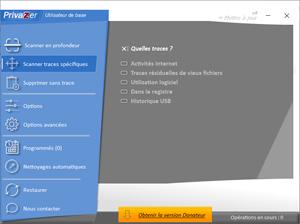 Capture d'ecran du logiciel PrivaZer Portable 3.0.96.1 fr