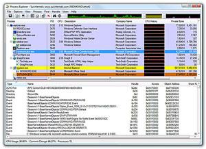 Capture d'ecran du logiciel Microsoft Process Explorer 16.21