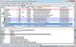 Capture d'écran du logiciel Microsoft Process Explorer Por...