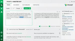 Capture d'ecran du logiciel Promt Master 20 Pack Multilingue