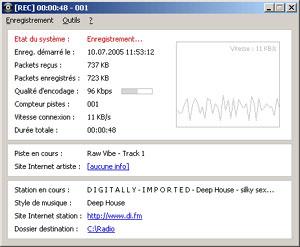 Capture d'écran du logiciel Radio Recorder 1.4 fr