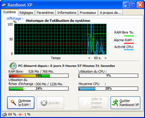 Capture d'écran du logiciel Ramboost XP 4.0.6.324 fr