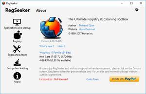 Capture d'écran du logiciel RegSeeker 4.7 fr