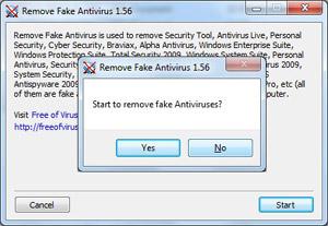 Capture d'écran du logiciel Remove Fake Antivirus 1.99