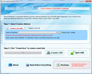 Capture d'écran du logiciel Renee PassNow 2016 fr