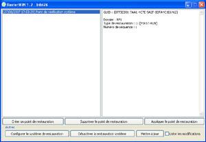 Capture d'écran du logiciel RestorWIN 1.3d fr