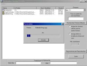 Capture d'écran du logiciel Restoration 2.5.14