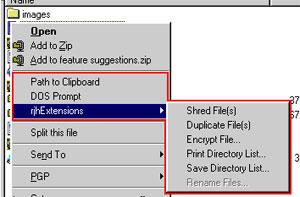 Capture d'écran du logiciel RjhExtensions 1.3
