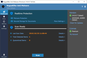 Capture d'écran du logiciel RogueKiller 12.12.23 fr