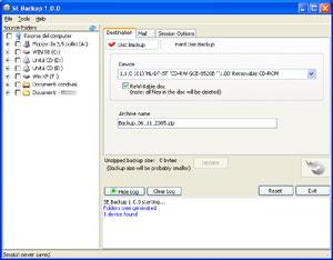 Capture d'écran du logiciel SE Backup 1.1 fr