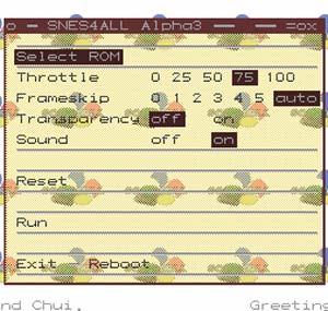 Capture d'écran du logiciel SNES4ALL Beta 2