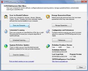 Capture d'ecran du logiciel SUPERAntiSpyware Free 8.0.1038 fr