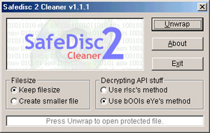 Capture d'ecran du logiciel Safedisc 2 Cleaner 1.2.0
