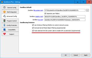 Capture d'ecran du logiciel Sandboxie 5.41.2 fr