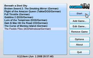 Capture d'écran du logiciel ScummVM Wii 1.5.0