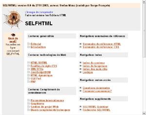 Capture d'écran du logiciel SelfHTML 8.0 fr