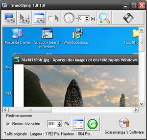 Capture d'ecran du logiciel Shoot2Png 1.0.1.0 fr