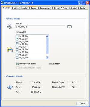 Capture d'écran du logiciel SimpleDivX 1.40 Preview 25 fr