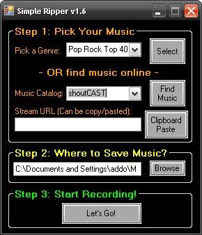 Capture d'écran du logiciel Simple Ripper 1.6