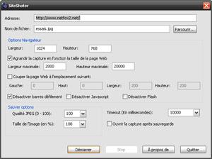 Capture d'ecran du logiciel SiteShoter 1.42 fr
