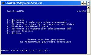 Capture d'écran du logiciel SmitFraudFix 2.423 fr