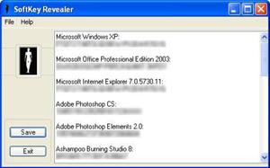 Capture d'écran du logiciel Softkey Revealer 2.8.0 fr