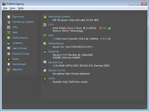 Capture d'ecran du logiciel Speccy 1.32.740