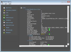 Capture d'écran du logiciel Speccy Portable 1.31.732