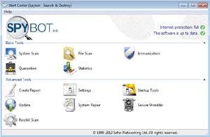 Capture d'ecran du logiciel Spybot - Search & Destroy Portable 2.7.64 fr