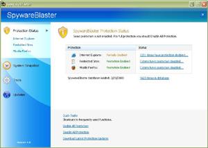 Capture d'écran du logiciel SpywareBlaster 5.5