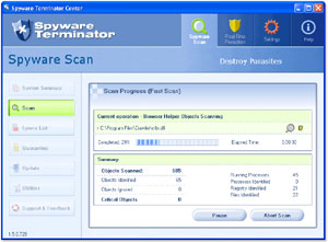 Capture d'écran du logiciel Spyware Terminator 3.0.1.112 fr