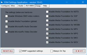 Capture d'ecran du logiciel Standard Codecs 9.9.5 fr