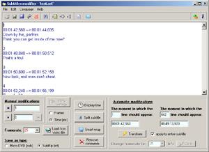 Capture d'écran du logiciel Subtitles Modifier 2.9.6