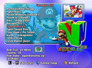 Capture d'écran du logiciel Surreal64-XXX CE B5.4
