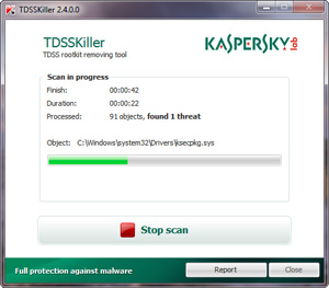 Capture d'écran du logiciel TDSSKiller Portable 3.1.0.12
