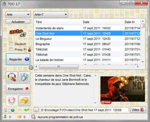 Capture d'écran du logiciel TVO 3.73 fr