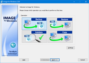 Capture d'ecran du logiciel TeraByte Drive Image Backup and Restore 3.30 fr