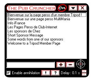 Capture d'ecran du logiciel The Pub Cruncher 1.9 fr