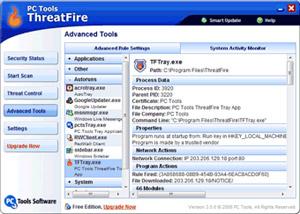 Capture d'écran du logiciel ThreatFire 4.10.1.14 fr