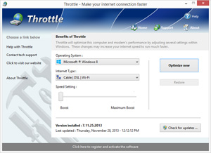 Capture d'ecran du logiciel Throttle 8.9.28.2020