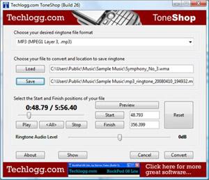Capture d'ecran du logiciel ToneShop build 26