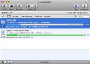 Capture d'ecran du logiciel Transmission 2.94 fr - MacOS