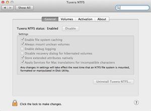 Capture d'ecran du logiciel Tuxera NTFS for Mac 2018 fr