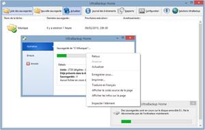 Capture d'écran du logiciel UltraBackup Home 6.0 fr