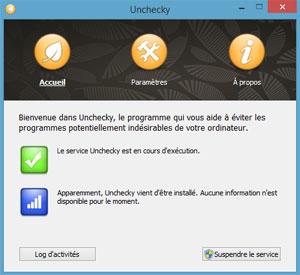Capture d'ecran du logiciel Unchecky 1.1 fr