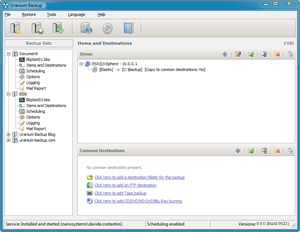 Capture d'ecran du logiciel Uranium Backup Free 9.6.2 Build 7084