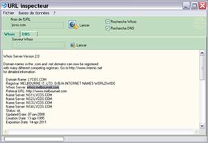 Capture d'écran du logiciel URL inspecteur 1.0 fr